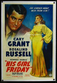 f380 HIS GIRL FRIDAY linen one-sheet movie poster '39 Grant, Russell, Hawks