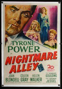 f426 NIGHTMARE ALLEY linen one-sheet movie poster '47 Tyrone Power, Blondell