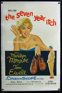 f457 SEVEN YEAR ITCH linen one-sheet movie poster '55 sexy Marilyn Monroe!