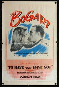 f486 TO HAVE & HAVE NOT linen one-sheet movie poster '44 Bogart, Bacall