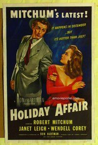 g313 HOLIDAY AFFAIR 1sh 1950 great Zamparelli art of Janet Leigh & Mitchum!