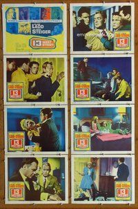 h081 13 WEST STREET 8 move lobby cards '62 Alan Ladd, Rod Steiger