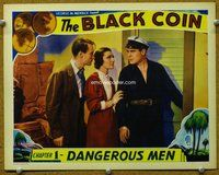 h025 BLACK COIN #3 Chap 1 movie lobby card '36 serial, color card!