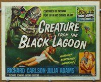 h001 CREATURE FROM THE BLACK LAGOON title movie lobby card '54 classic!