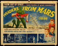 h004 INVADERS FROM MARS title movie lobby card '53 autographed by four!