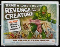 h002 REVENGE OF THE CREATURE title movie lobby card '55 great image!