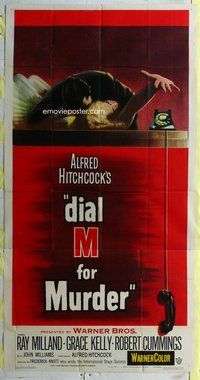 n345 DIAL M FOR MURDER three-sheet movie poster '54 Hitchcock, Grace Kelly