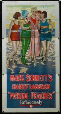 n455 PICKING PEACHES three-sheet movie poster '24 very 1st Harry Langdon!