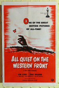 p012 ALL QUIET ON THE WESTERN FRONT one-sheet movie poster R60s Lew Ayres