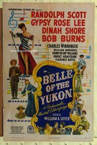 p015 BELLE OF THE YUKON one-sheet movie poster '44 Gypsy Rose Lee, Scott