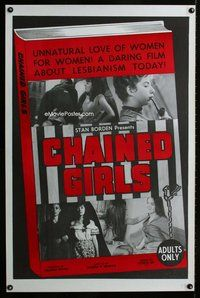 p017 CHAINED GIRLS one-sheet movie poster '65 unnatural lesbianism!