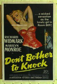p001a DON'T BOTHER TO KNOCK one-sheet movie poster '52 sexy Marilyn Monroe