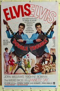 p020 DOUBLE TROUBLE one-sheet movie poster '67 rockin' Elvis Presley!
