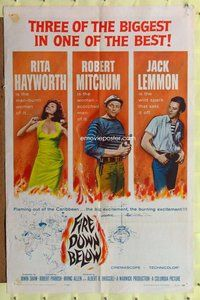 p022 FIRE DOWN BELOW one-sheet movie poster '57 sexy Rita Hayworth!