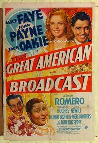 p025 GREAT AMERICAN BROADCAST one-sheet movie poster '41 pretty Alice Faye!