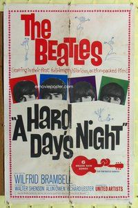 p026 HARD DAY'S NIGHT one-sheet movie poster '64 The Beatles, rock & roll!