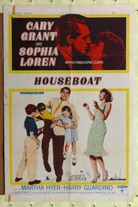 p027 HOUSEBOAT one-sheet movie poster '58 Cary Grant, Sophia Loren