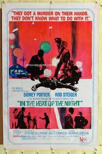 p028 IN THE HEAT OF THE NIGHT one-sheet movie poster '67 Sidney Poitier