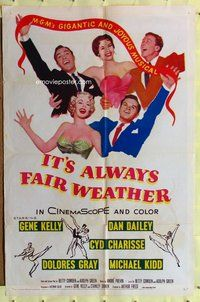 p031 IT'S ALWAYS FAIR WEATHER one-sheet movie poster '55 Kelly. Charisse