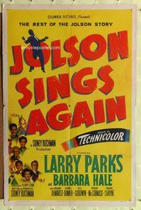 p032 JOLSON SINGS AGAIN one-sheet movie poster '49 Larry Parks, biography!