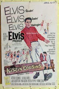 p034 KISSIN' COUSINS one-sheet movie poster '64 Elvis Presley in 2 roles!