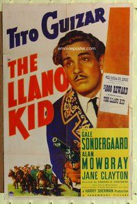 p036 LLANO KID one-sheet movie poster '39 Tito Guizar, O. Henry story!