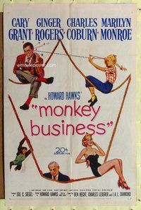 p040 MONKEY BUSINESS one-sheet movie poster '52 Grant, Rogers, Monroe