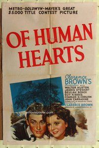 p042 OF HUMAN HEARTS style D one-sheet movie poster '38 young Jimmy Stewart!