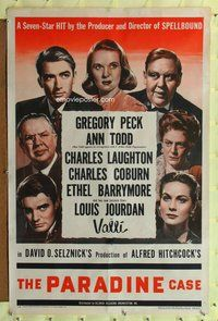 p009 PARADINE CASE style A one-sheet movie poster '48 Hitchcock, Peck, Todd