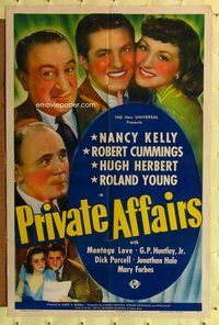 p043 PRIVATE AFFAIRS one-sheet movie poster '40 Bob Cummings, Nancy Kelly
