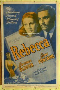 p005 REBECCA one-sheet movie poster R48 Hitchcock, Olivier, Joan Fontaine