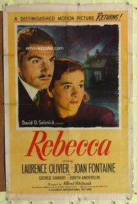 p004 REBECCA one-sheet movie poster R46 Hitchcock, Olivier, Joan Fontaine