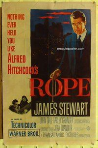 p010 ROPE one-sheet movie poster '48 James Stewart, Alfred Hitchcock