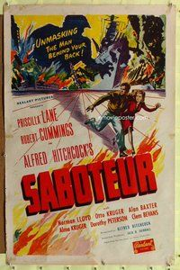 p008 SABOTEUR one-sheet movie poster R48 Alfred Hitchcock, Cummings