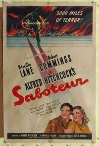 p007 SABOTEUR style C one-sheet movie poster '42 Hitchcock, Robert Cummings