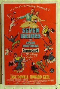 p047 SEVEN BRIDES FOR SEVEN BROTHERS one-sheet movie poster '54 Powell
