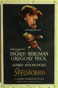 p002 SPELLBOUND one-sheet movie poster '45 Hitchcock, Peck, Bergman