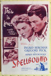 p003 SPELLBOUND one-sheet movie poster R56 Alfred Hitchcock, Peck, Bergman