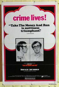 p051 TAKE THE MONEY & RUN one-sheet movie poster R70s Woody Allen, crime!