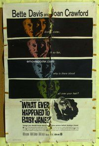 p055 WHAT EVER HAPPENED TO BABY JANE one-sheet movie poster '62 Bette Davis