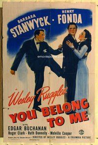 p056 YOU BELONG TO ME style B one-sheet movie poster '41 Stanwyck, Fonda