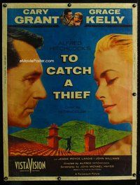 t001 TO CATCH A THIEF Thirty by Forty movie poster '55 Kelly, Grant, Hitchcock