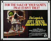 z771 LEGEND OF HELL HOUSE half-sheet movie poster '73 great skull image!