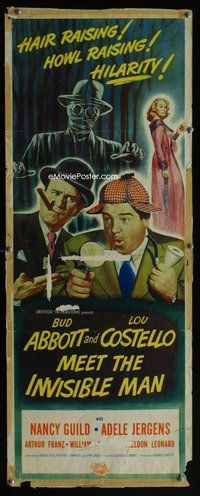 z012 ABBOTT & COSTELLO MEET THE INVISIBLE MAN insert movie poster '51