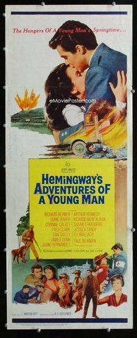 z014 ADVENTURES OF A YOUNG MAN insert movie poster '62 Hemingway