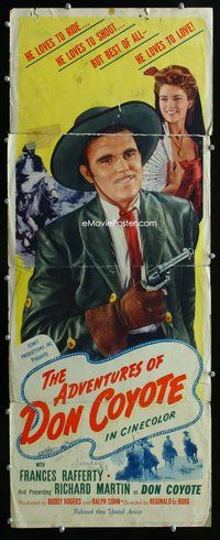 z015 ADVENTURES OF DON COYOTE insert movie poster '47 Reginald Le Borg