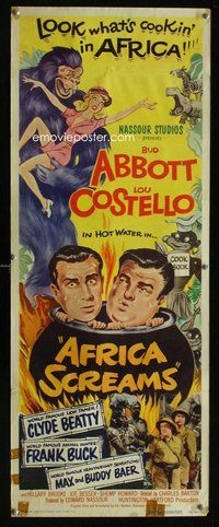 z017 AFRICA SCREAMS insert movie poster '49 Bud Abbott & Lou Costello!