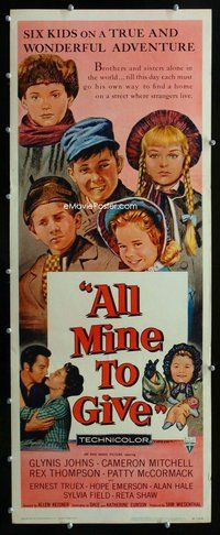 z020 ALL MINE TO GIVE insert movie poster '57 Glynis Johns, Mitchell