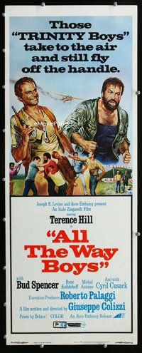 z022 ALL THE WAY BOYS insert movie poster '73 Terence Hill, Spencer