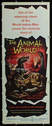 z028 ANIMAL WORLD insert movie poster '56 great image of dinosaurs!